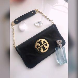 Authentic black Tory Burch handbag w/ gold buckle